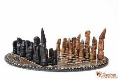 Šachy malé béžovo-černé, kulaté