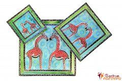 Dekorační set misek modro zelená s červenými žirafami