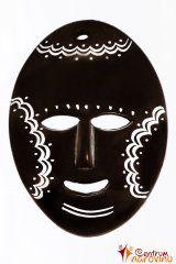 Dekorační maska tmavě hnědá s bílým zdobením