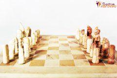 Šachy (malé) bílo béžové