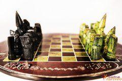 Šachy (malé) hnědo zelené