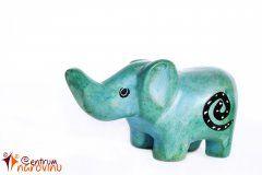 Soška slona modro zelená