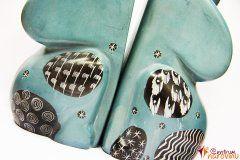 Zarážka na knihy modrá s ornamenty