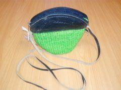 Kabelka zelená s černou kůží