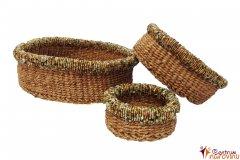 Set košíků přírodní s korálky