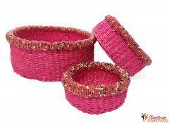 Set košíků růžový s korálky