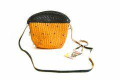 Kabelka oranžová s černou kůží