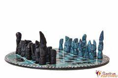 Šachy malé modro-černé, kulaté
