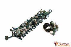 Korálkový náramek a prsten s kameny – zelený