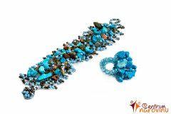 Korálkový náramek a prsten s kameny – tyrkys