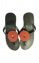 Sandále červenozlatočerné
