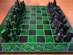 Šachy čtvercové zeleno-černé