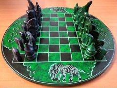 Šachy kulaté zeleno-černé