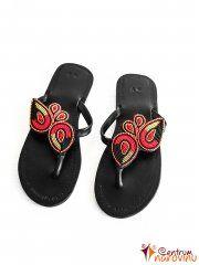 Sandále černočervené