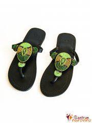Sandále černozelené