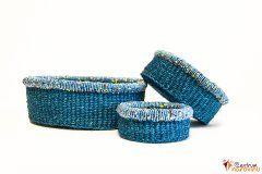 Set košíků modrý s korálky