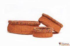Set košíků oranžový s korálky