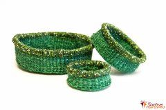 Set košíků zelený s korálky