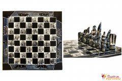 Šachy velké černobílé s modrou